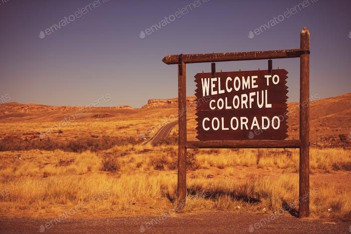 Señal de bienvenida del estado de Colorado