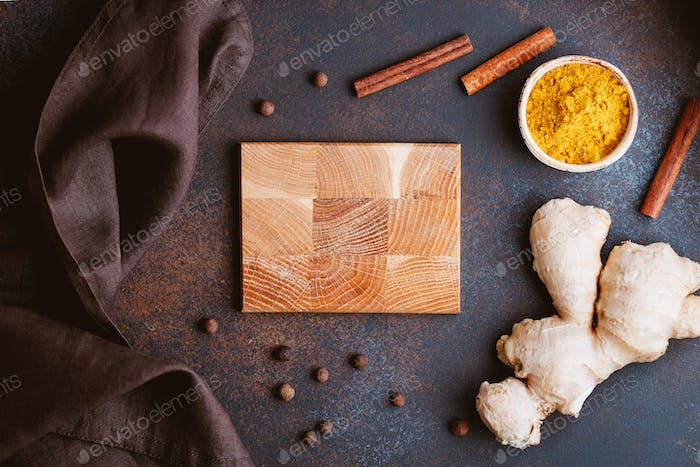 Ingredients for preparation turmeric latte. Curcuma, ginger, cinnamon and allspice.