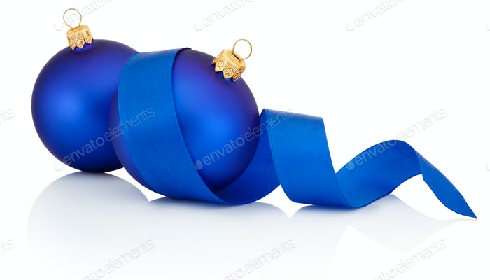 Two Blue Christmas ball covered with curled ribbon Isolated on w