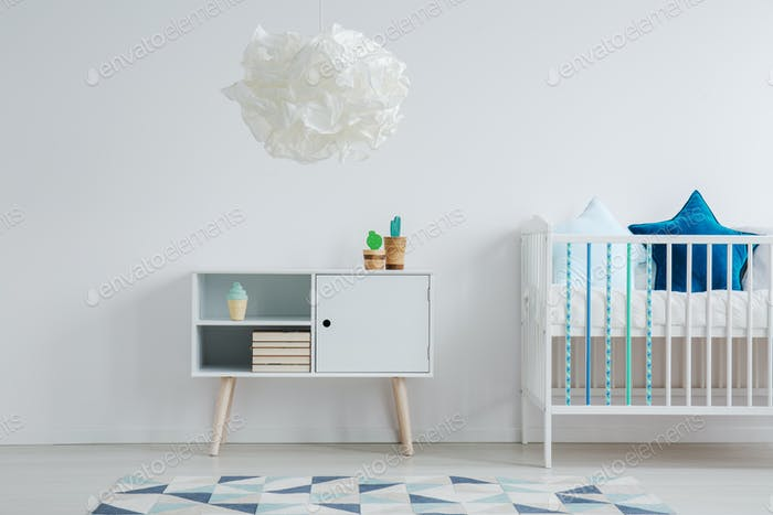 White and blue kid room