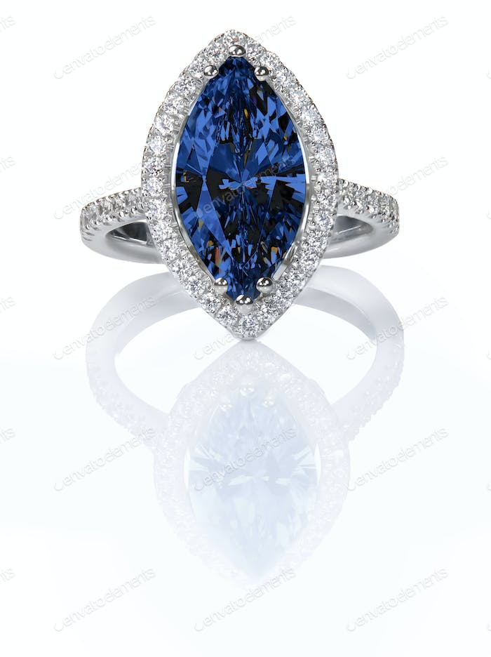 Blue Sapphire Beautiful Diamond Engagement ring. Gemstone Marquise cut