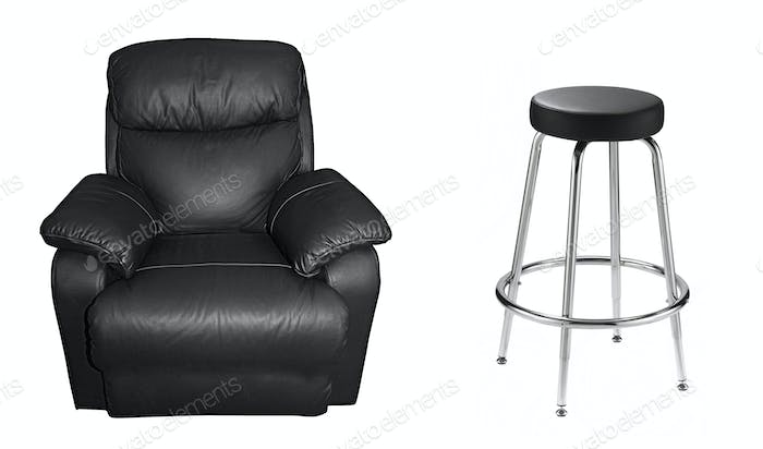Black sofa and leather chair on white