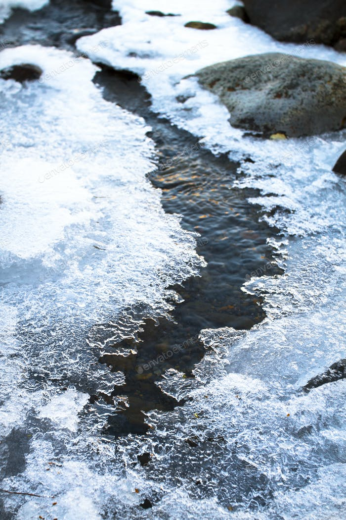 Patches of Ice on a Stream in New Zealand