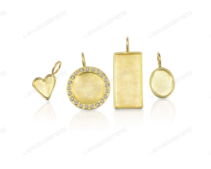 Golden Silver blank customizable trinket pendants with diamonds