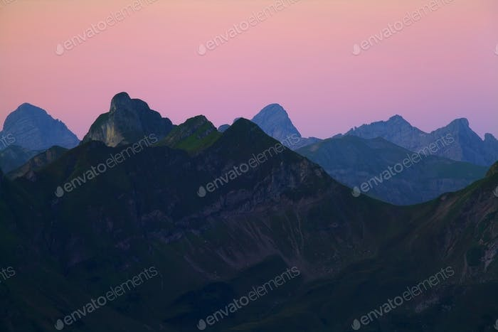 mountain silhouette at dawn