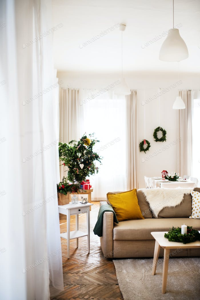An interior of a room at home at Christmas time.