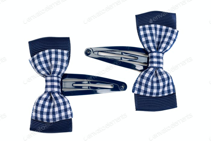 Hairpins, plaid butterfly