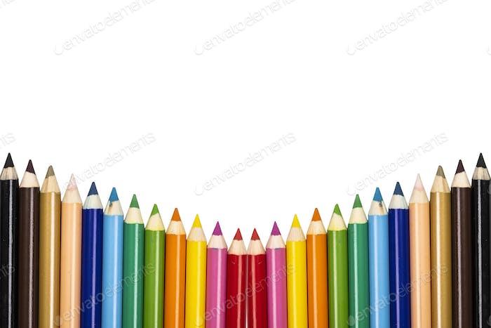 Colorful pencils border.