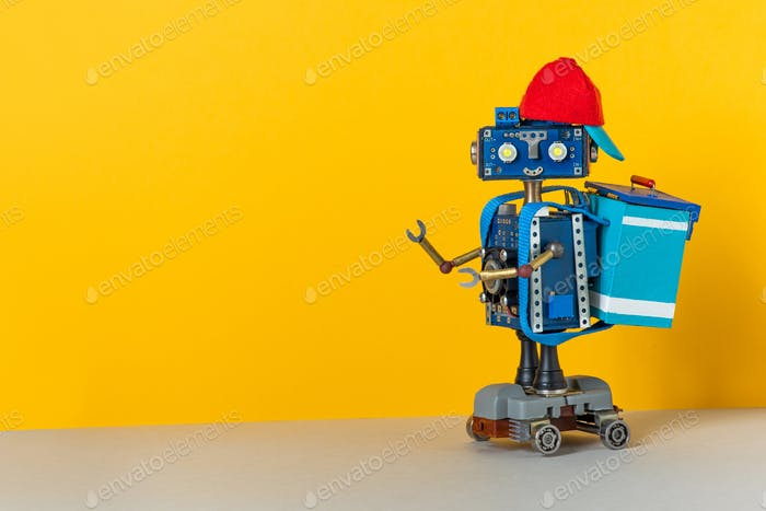 Hipster robot courier deliveryman dressed in uniform drives an electric skateboard,