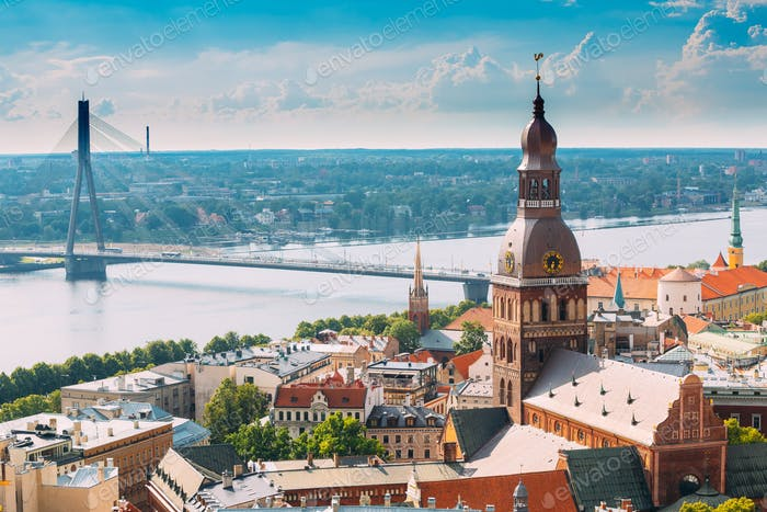 Riga, Latvia. Cityscape In Sunny Summer Day. Famous Landmark - R