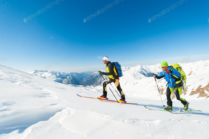 Ski mountaineers in action