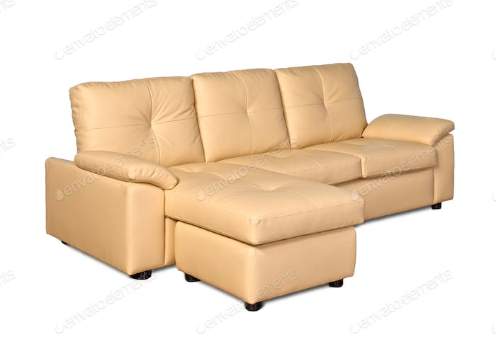 Beige leather sofa with stool Three Seater Facing Right