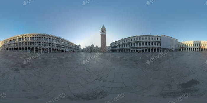 360 VR Piazza San Marco with Basilica and Campanile. Morning view, Venice
