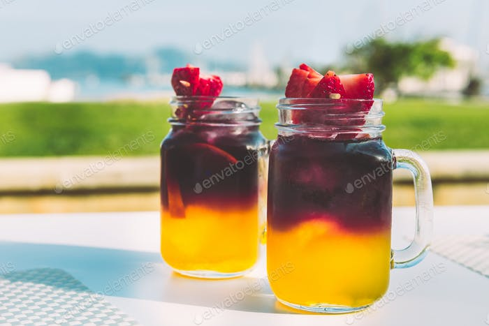Cold sangria or punch with fruits