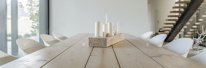 Candles on table made of wood boards
