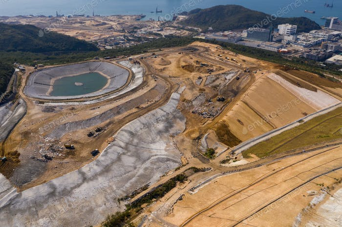 Top view of landfill in Hong Kong