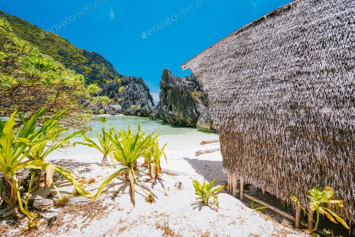 El Nido, Palawan, Philippines. Unknown star beach with overnight accommodations. Beautiful shallow