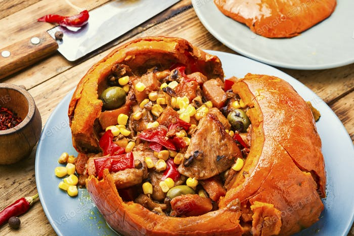 Baked pumpkin with meat