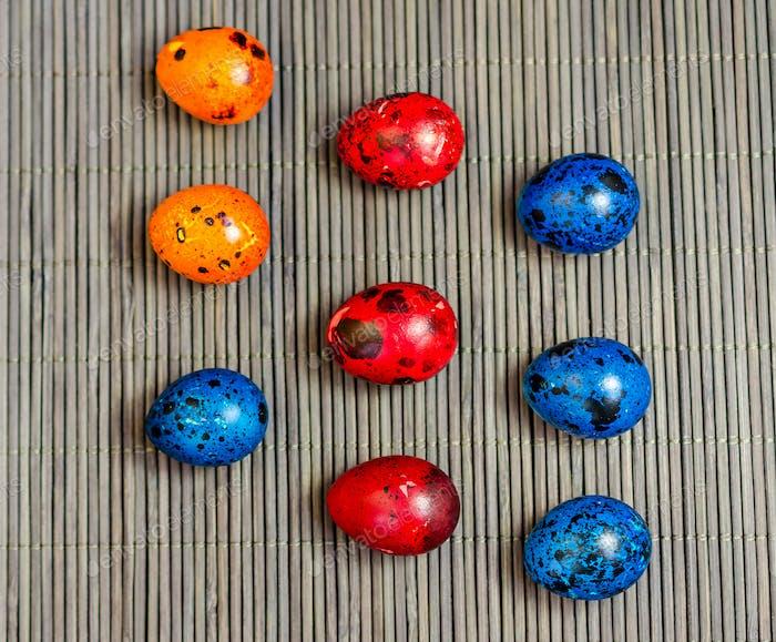 Colorful quail eggs