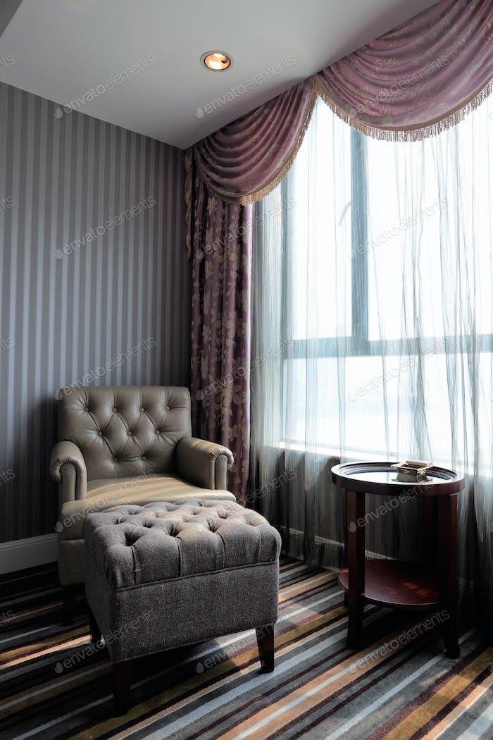 comfortable hotel room corner