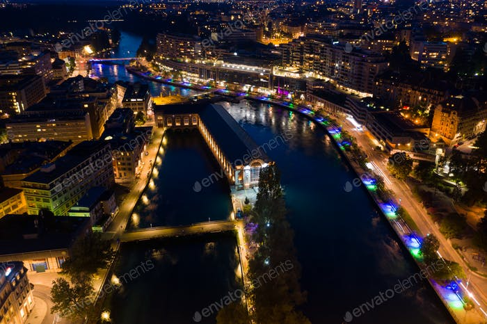 Aerial  night view of Geneva city water fountain in Switzerland