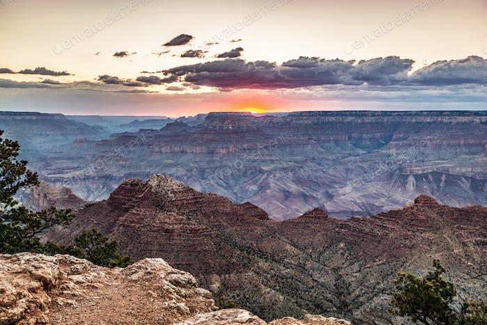 The Grand Canyon in Arizona, USA at sunset.