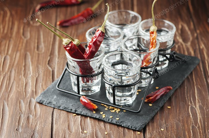 Vodka with hot chili peppers