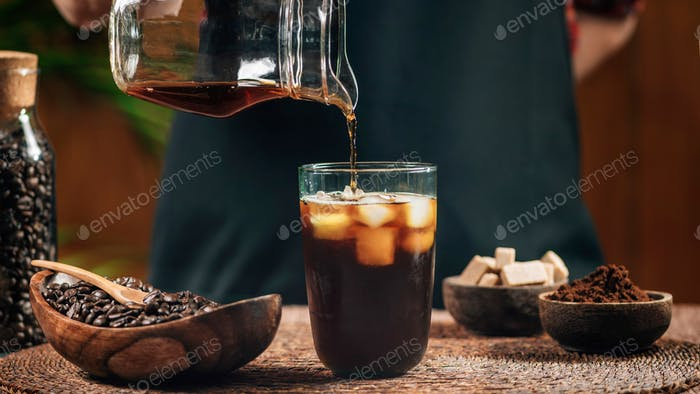 Pouring Cold Brew Coffee