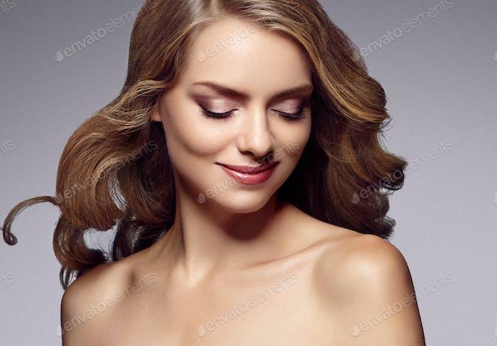 Blonde woman beauty make up natural beautiful female portrait