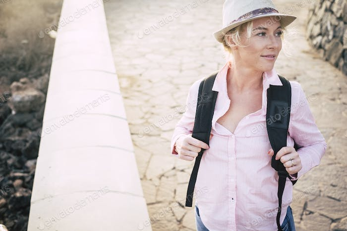 Concept of young beautiful european woman travel