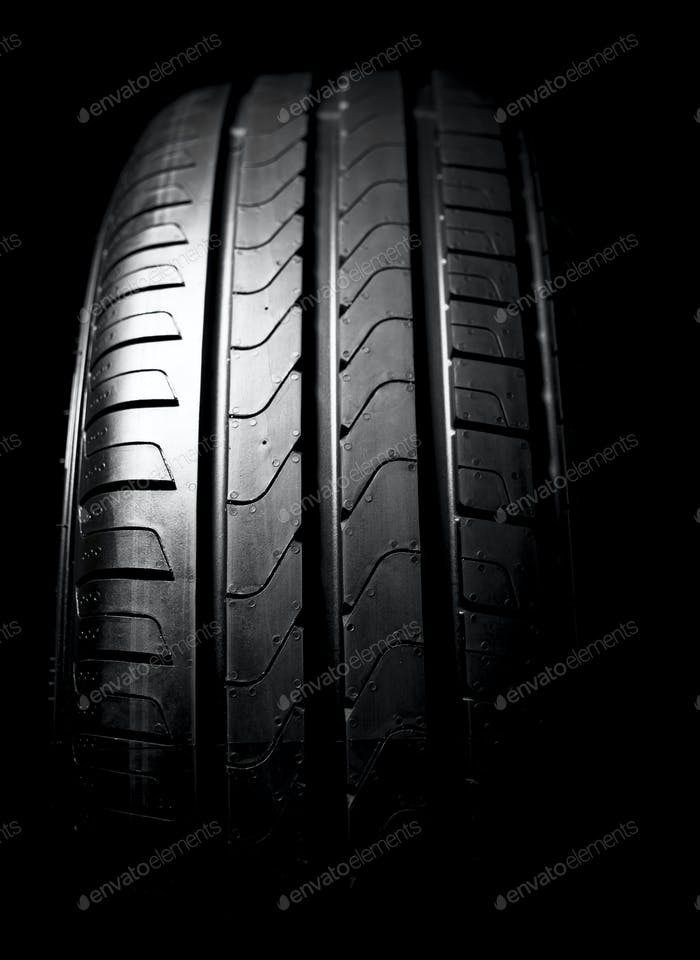 Car tires close-up