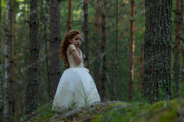 Little girl walks in a summer forest in a dress
