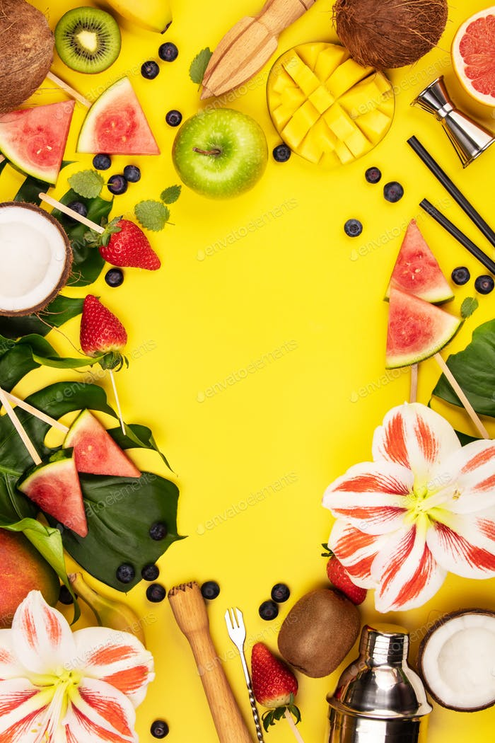 Fruits, berries, tropical plants and bar equipment