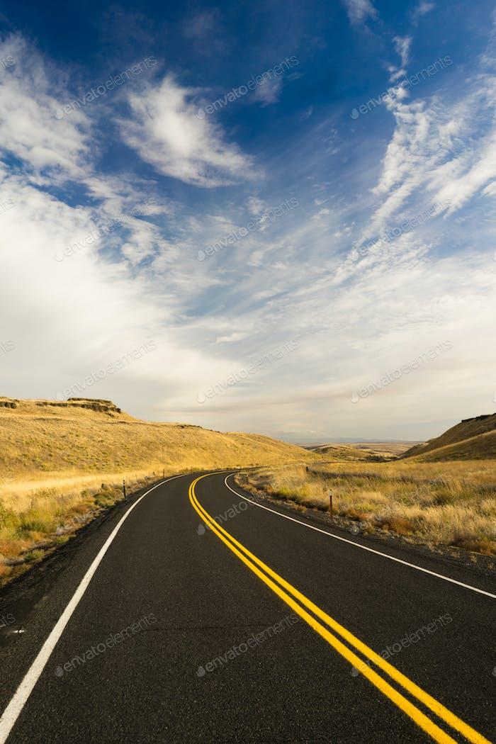 Open Road Scenic Journey Two Lane Blacktop Highway