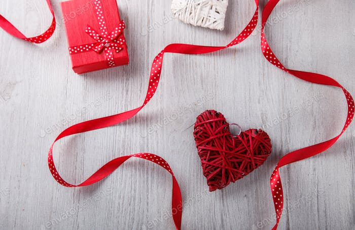 Gifts and heart for Valentine's Day.