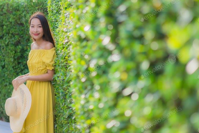 Portrait beautiful women happy relax smile around garden