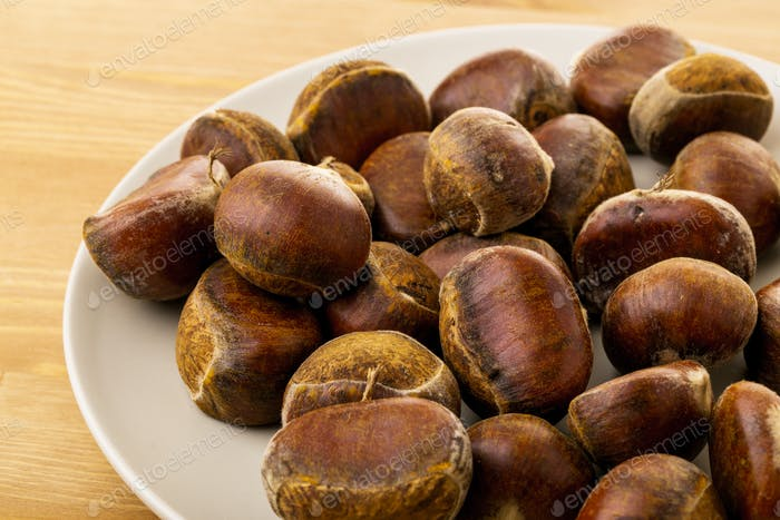 Chestnut on plate