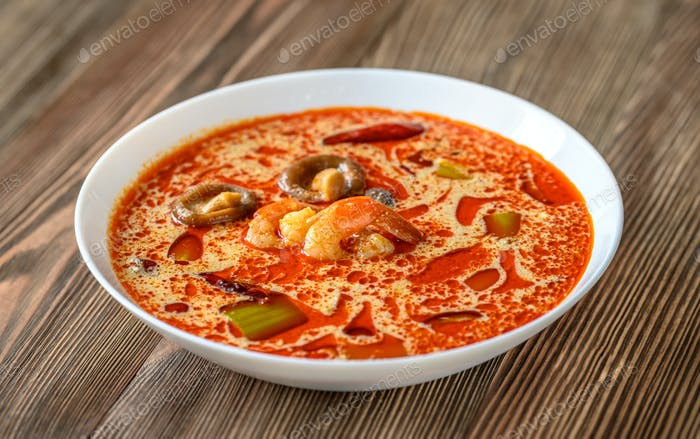 Portion of Tom Yum soup