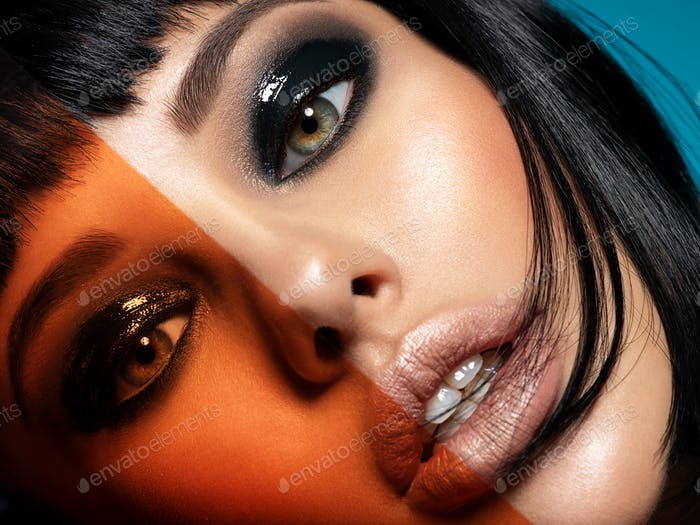 Glamour fashion model with black gloss make-up. Beautiful fashion woman with a colored items.