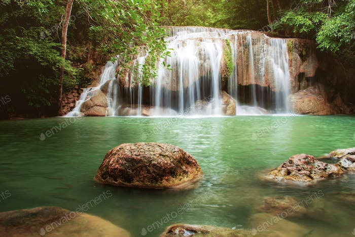 Erawan waterfall with beautiful