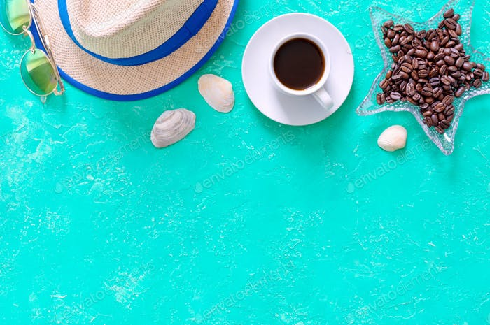 Coffee, straw hat and sunglasses