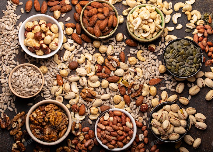 Assorted nuts and seeds from above