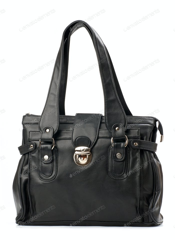Black female handbag over white