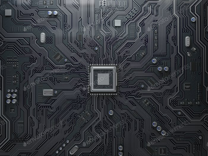 CPU chip on circuit board.