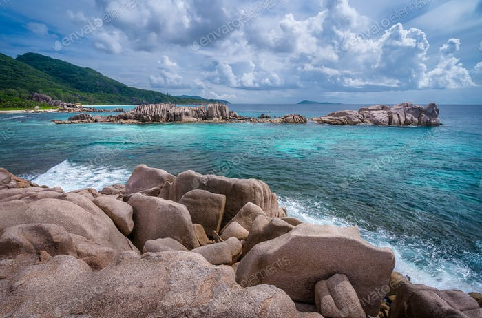 Seychelles picturesque coastline with granite rocks. Beauty in nature