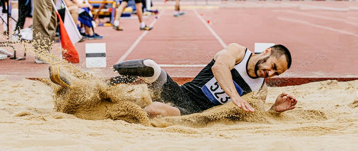 athlete with disability in prosthetic long jump