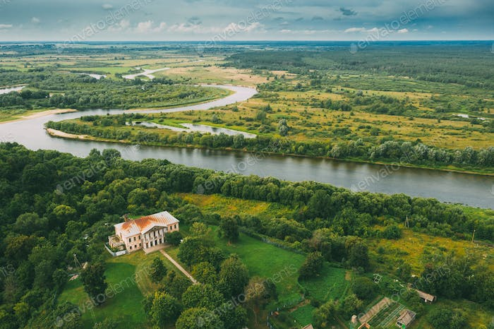 Khal'ch, Vetka District, Belarus. Aerial View Old House Manor Of