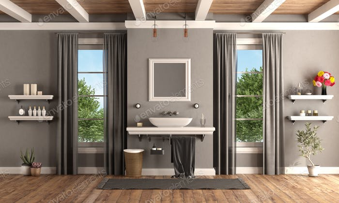Gray and white classic bathroom with washbasin on shelf - 3d rendering