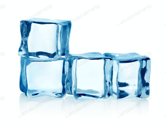 Group ice cubes isolated