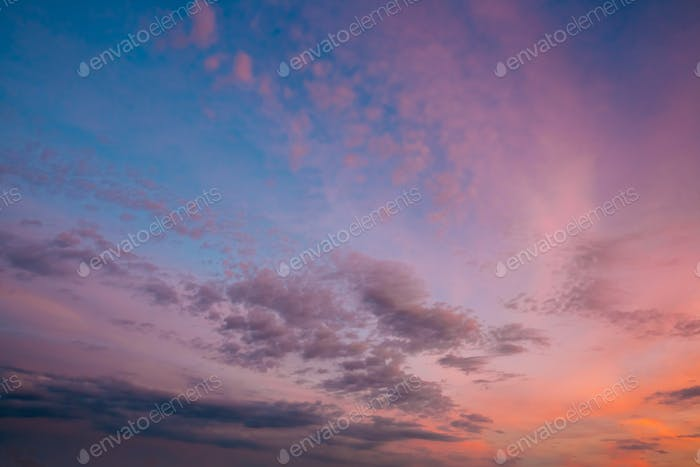 Sky, Bright Blue, Pink And Purple Colors Sunset